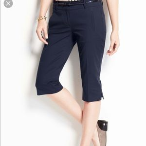 NWOT Ann Taylor Navy Cotton Pedal Pushers for Work